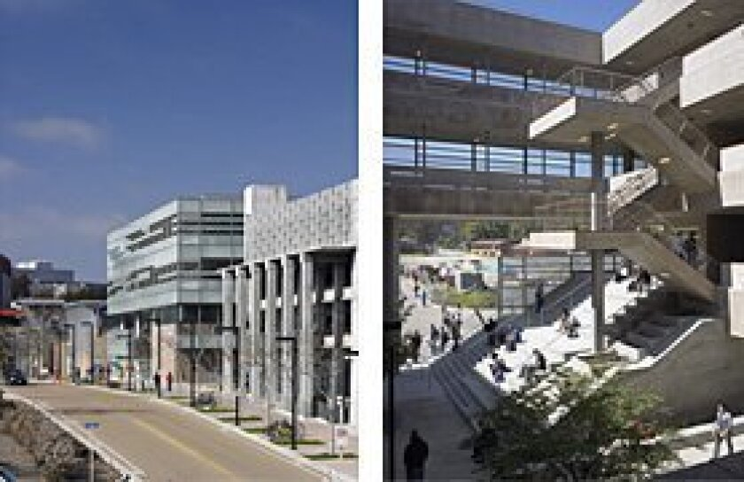 Photos from the UCSD website show Pepper Canyon Hall in 2007.