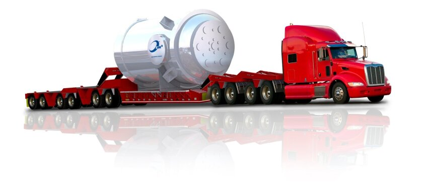 In an illustration supplied by General Atomics, a proposed reactor built with the company's proposed Energy Multiplier Module (EM2) technology, can be shipped by truck, rail or ship.