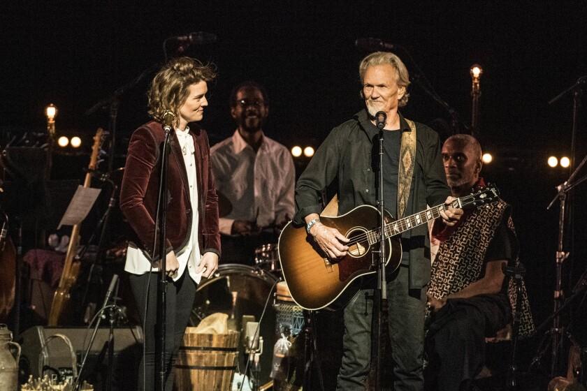 Brandi Carlile and Kris Kristofferson perform during Joni 75 at The Dorothy Chandler Pavilion on Nov