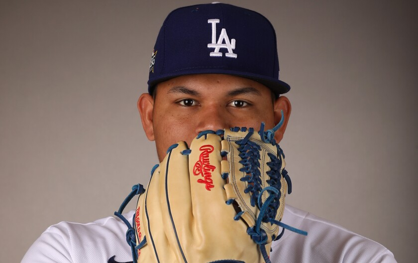 Dodgers pitcher Brusdar Graterol poses for a portrait during MLB media day on Feb. 20.