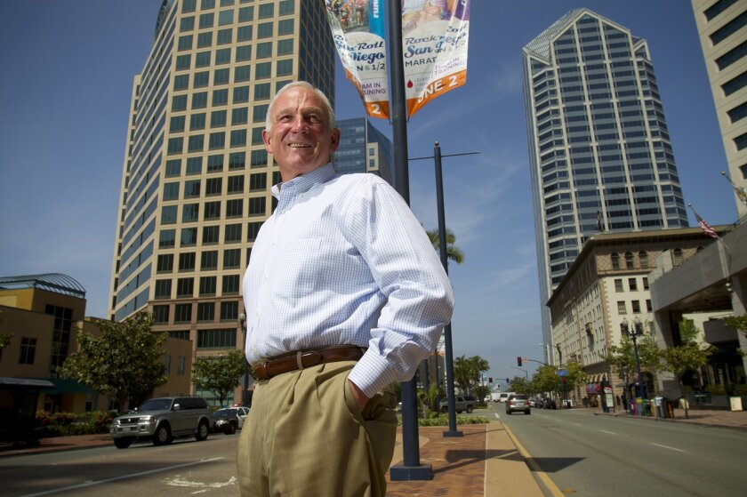In downtown San Diego, Jerry Sanders new President of the San Diego Regional Chamber of Commerce.