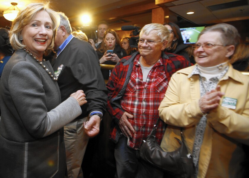 Former Secretary of State Hillary Rodham Clinton in New Hampshire in November. She is the Democrats' heavy favorite to run for president in 2016.