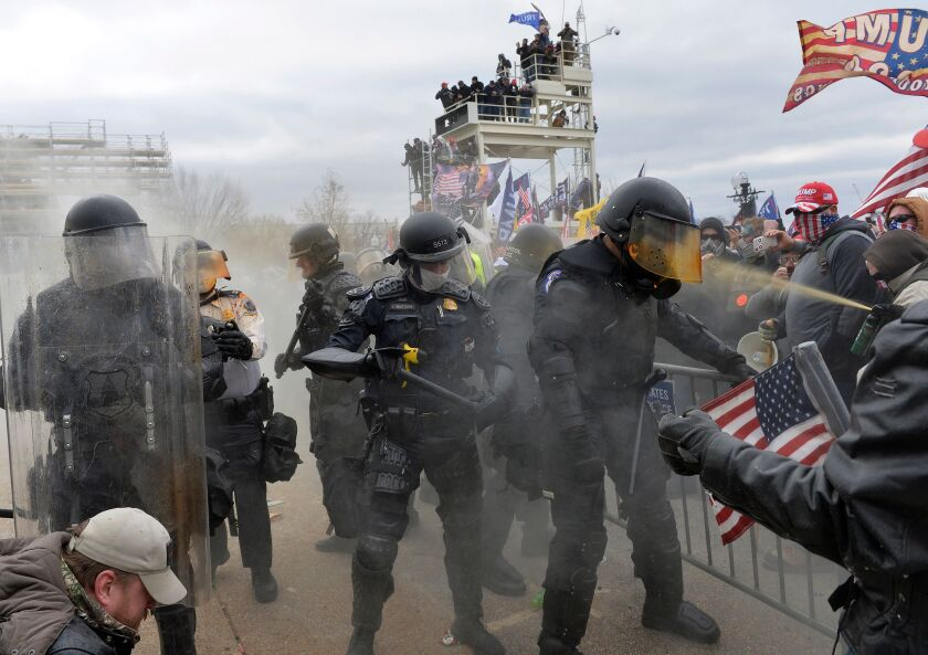 The pro-Trump mob clashes with police and security forces as they storm the U.S. Capitol on Jan. 6.