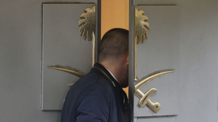 The doors of Saudi Arabia's consulate in Istanbul, Turkey. International reaction to what took place inside the building on Oct. 2, when Saudi journalist Jamal Khashoggi died there, now threatens the Saudi government and its crown prince.