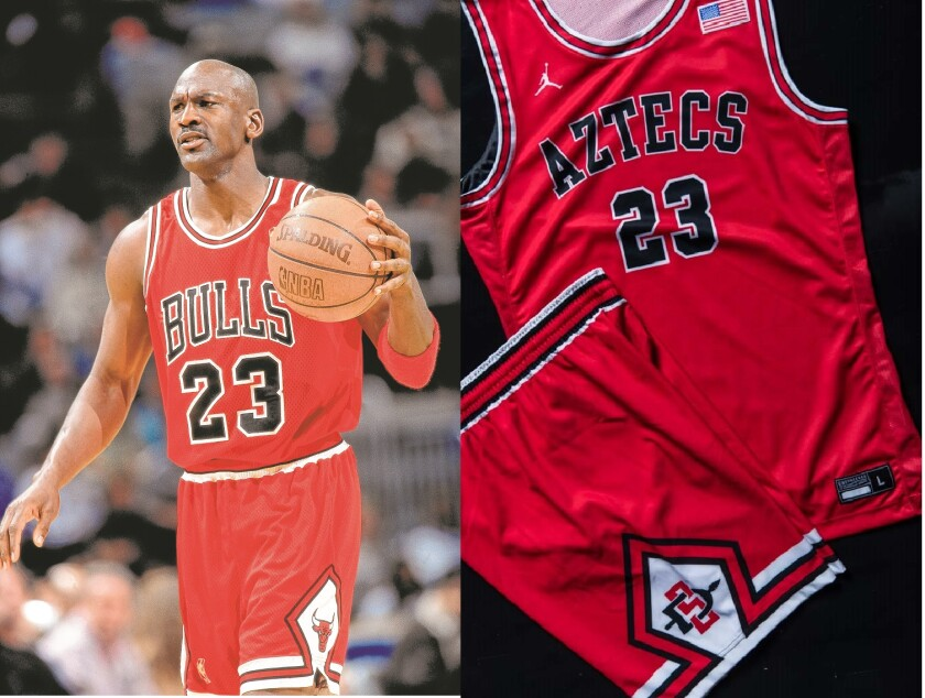 The retro uniforms that SDSU will wear Sunday against San Jose State are modeled after the iconic design of the Michael Jordan-era Chicago Bulls.