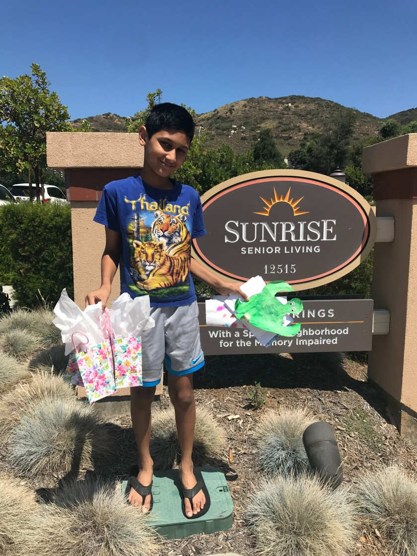 Dhruv Bantval dropped off cards to a senior living home last week.