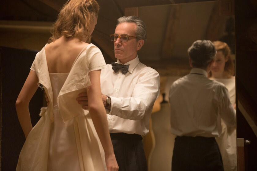 """Vicky Krieps stars as """"Alma"""" and Daniel Day-Lewis stars as """"Reynolds Woodcock"""" in writer/director Pa"""