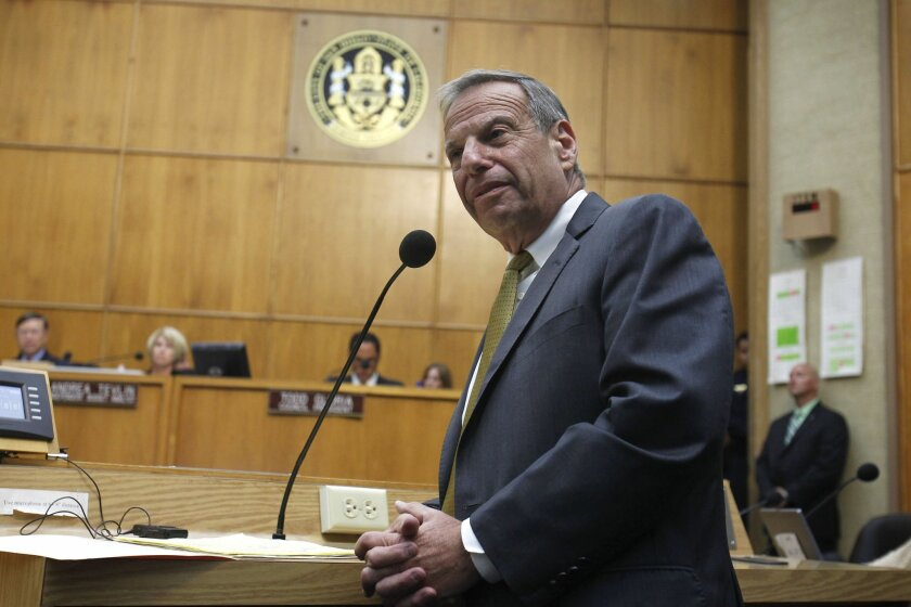 Mayor Bob Filner addresses the San Diego City Council after City Attorney accepted the Mayors resignation effective August 30, 2013.