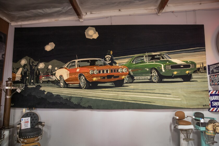 "A view of ""Street Racers,"" the 20-foot-long tapestry that pays tribute to Big Willie Robinson, the founder of the Brotherhood of Street Racers."
