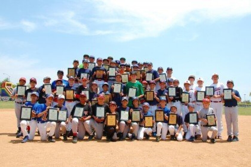 2013 Academic All American honorees for the Del Mar Little League American and National Divisions with DMLL President Joe Caprice (left third row from bottom) and Larry Jackel DMLL Treasurer (right third row from bottom). Photo Courtesy: Bob Ruiz