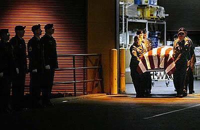 Flag-draped coffin