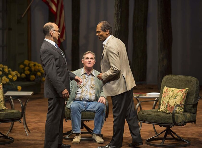 Ned Eisenberg as Menachem Begin, Richard Thomas as Jimmy Carter, and Khaled Nabawy as Anwar Sadat in the West Coast premiere of Lawrence Wright's 'Camp David' at The Old Globe Theatre in San Diego.