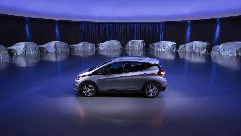 General Motors outlined an all-electric path to zero emissions. Above, a concept of one of two new GM electric vehicles that will start being sold within 18 months.