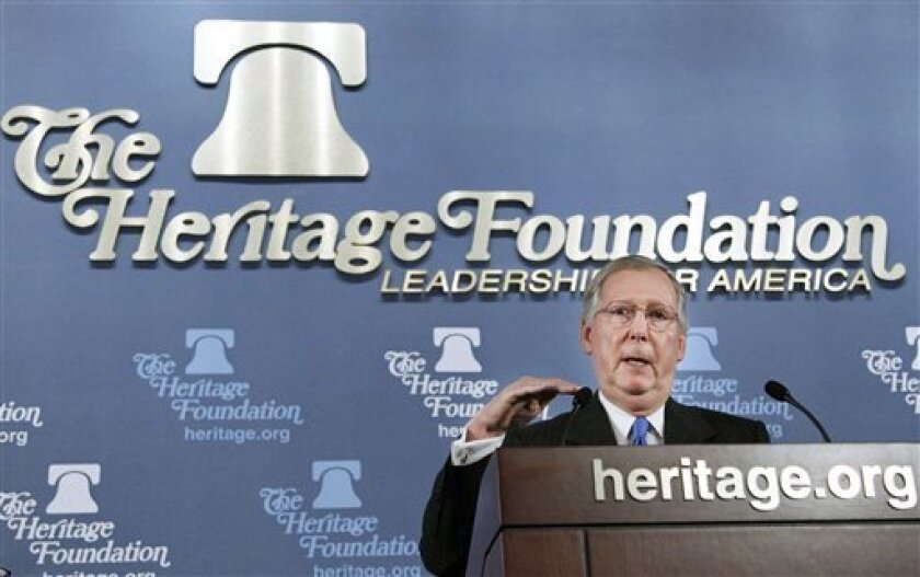 FILE - In this Nov. 4, 2010 file photo, Senate Minority Leader Sen. Mitch McConnell of Ky. speaks at the Heritage Foundation in Washington. Republicans plan to use the investigative powers of Congress to go afte President Barack Obama's health care overhaul, and they're focusing on questions upperm