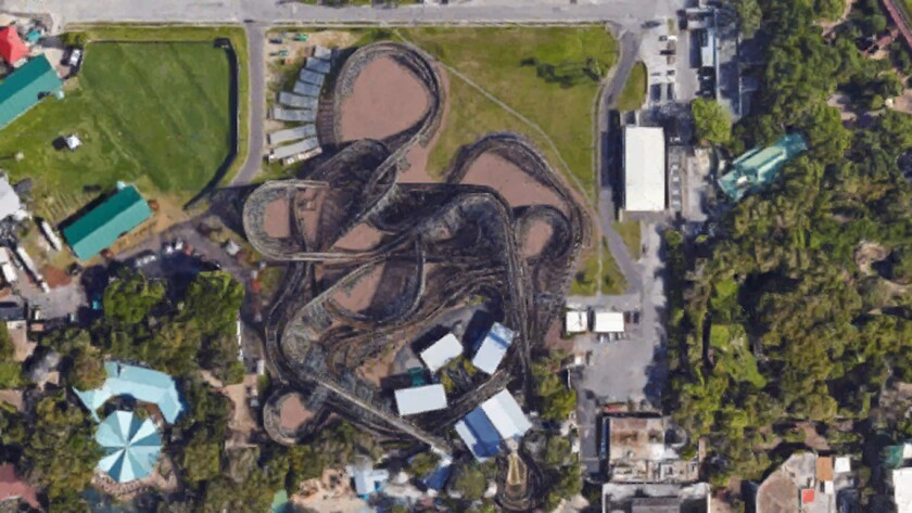 Roller coasters from above - Busch Gardens Tampa - Gwazi (closed)