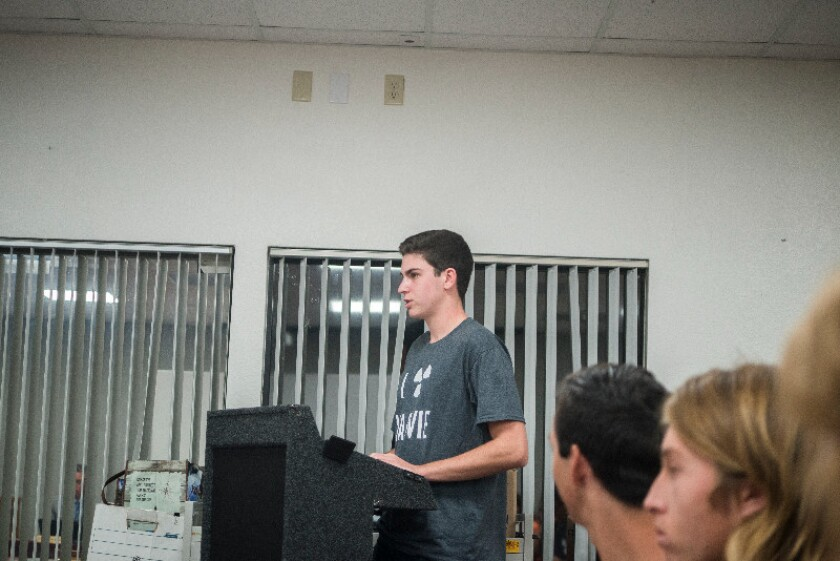 Torrey Pines student Ben Ehrlich addresses the SDUHSD board on Nov. 3.