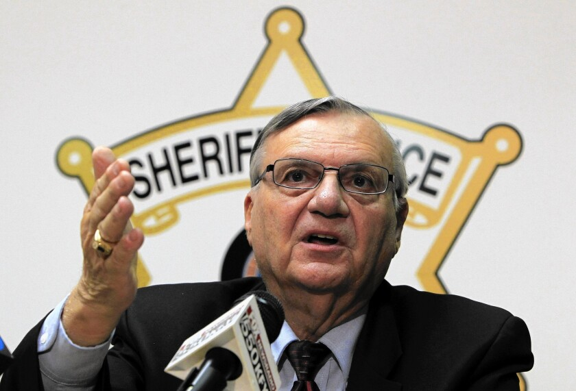 Maricopa County Sheriff Joe Arpaio, shown in Arizona in 2011, says he can't keep paying his own legal fees in bias cases.