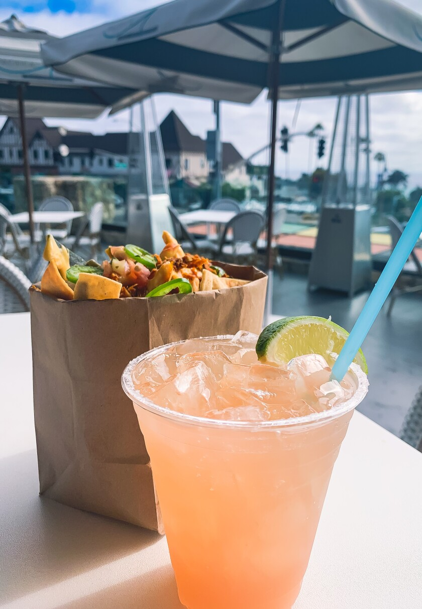 """Cocktails and """"walking tacos"""" at Pacifica Breeze Cafe in Del Mar."""