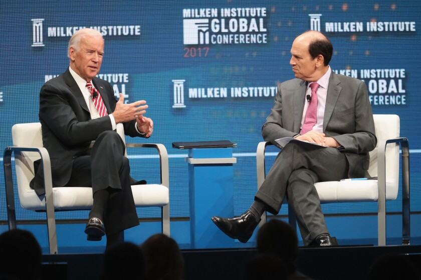 Former Vice President Joe Biden and Michael Milken talk at the Milken Institute Global Conference 2017 at the Beverly Hilton