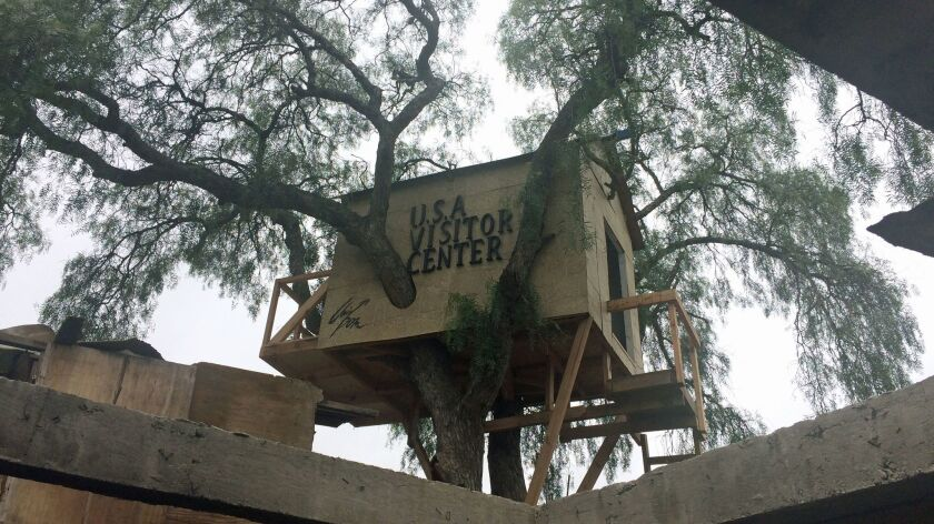 """A view of the border treehouse created by Japanese art collective Chim Pom, which is titled """"U.S.A. Visitor Center."""""""