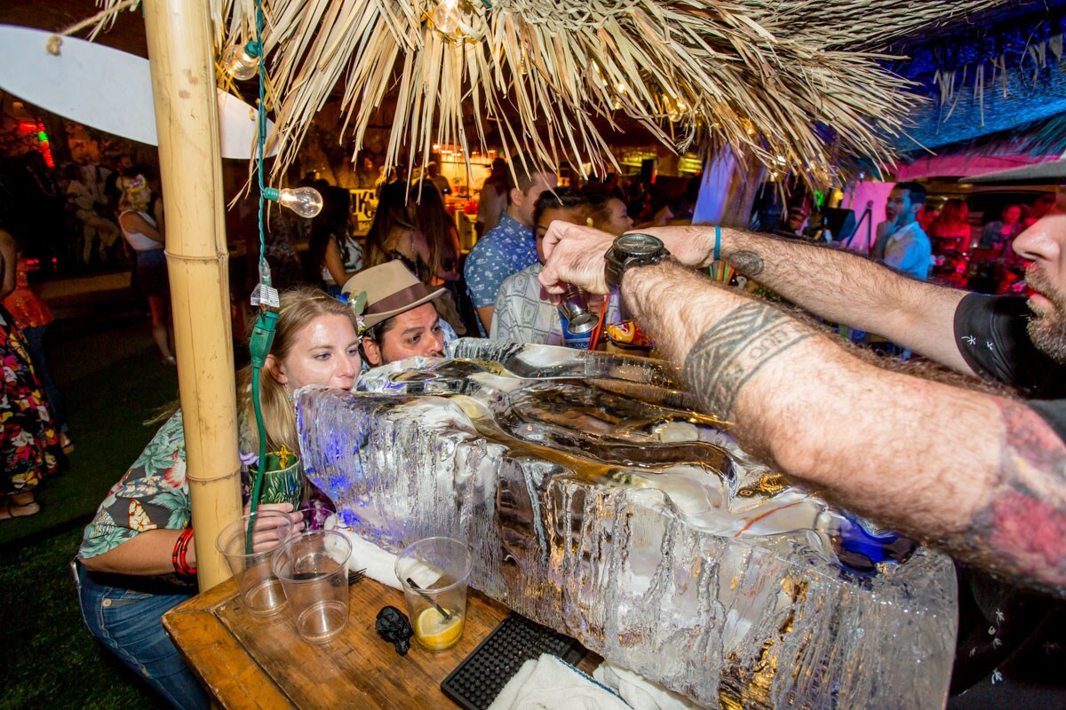 It was a fiery night during the 1st Annual Tiki Luau at the Grass Skirt in Pacific Beach on Sunday, Oct. 8, 2017. (Bradley Schweit)