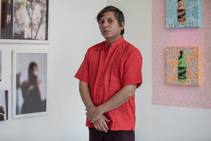 """Francisco Morales is shown with works from """"Domestic Geographies."""""""