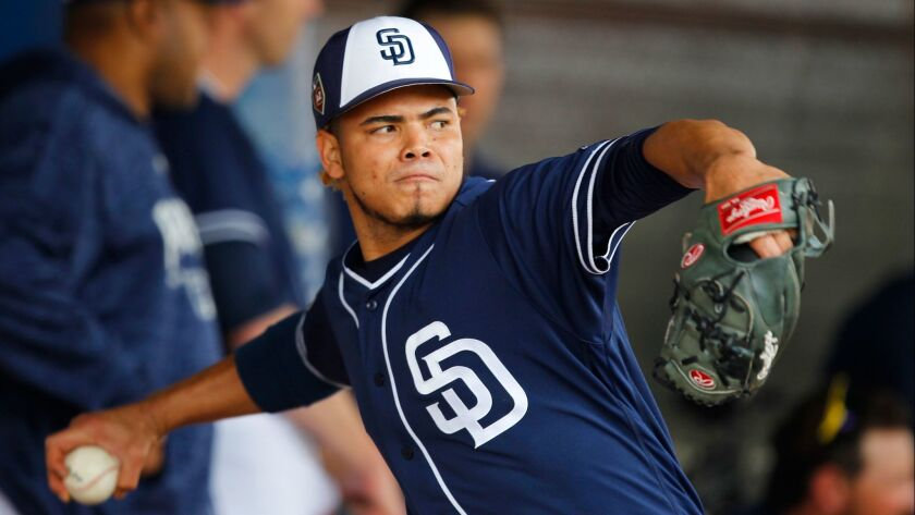 San Diego Padres pitcher Dinelson Lamet throws during a spring training practice in Peoria on Feb. 15, 2018.