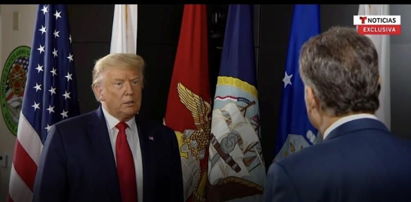 El presidente Donald Trump en entrevista con José Díaz-Balart, presentador de Telemundo.