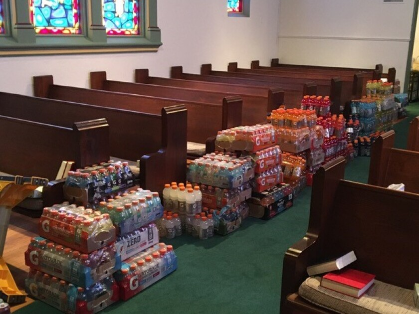 La Jolla Presbyterian Church collected more than 70 cases of sports drinks to distribute to homeless people.