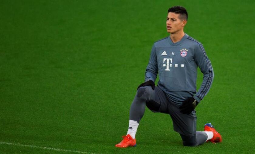 El jugador del Bayern Múnich James Rodríguez entrena. EFE/Archivo