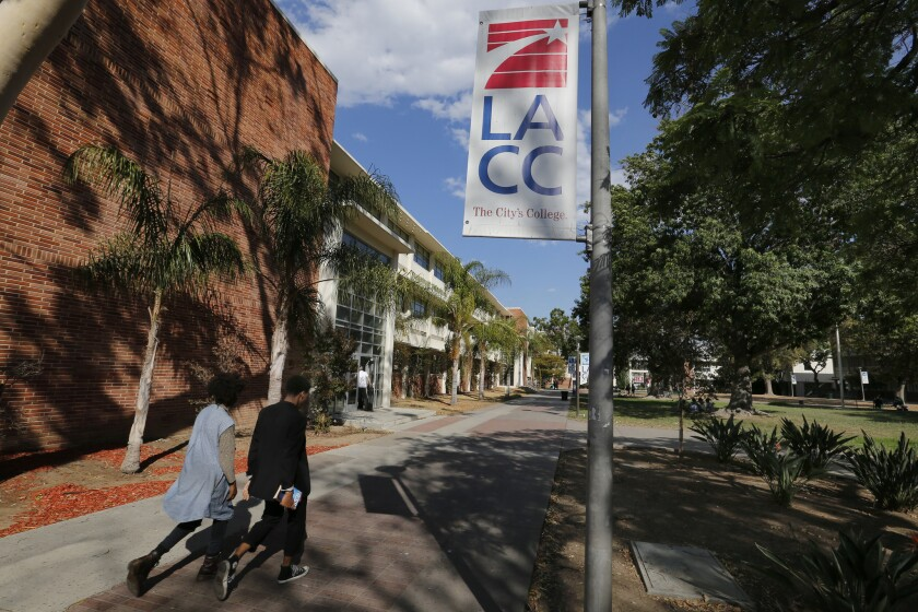 Students walk between classes at Los Angeles City College before the shutdown.