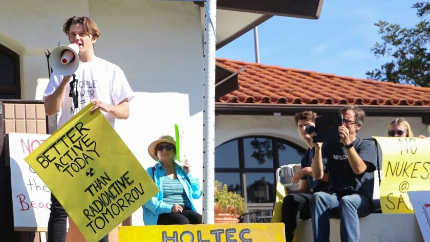 Jackson Hinkle at a rally against nuclear waste storage at the San Onofre power plant. (Courtesy of