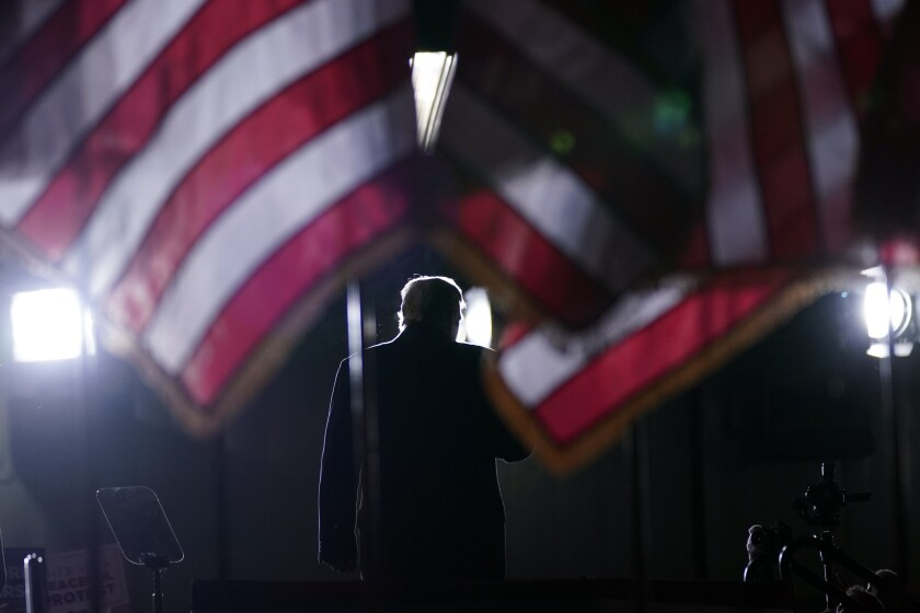 President Donald Trump finishes speaking during a campaign rally in Mosinee, Wis., Thursday, Sept. 17, 2020, in Mosinee, Wis. (AP Photo/Evan Vucci)