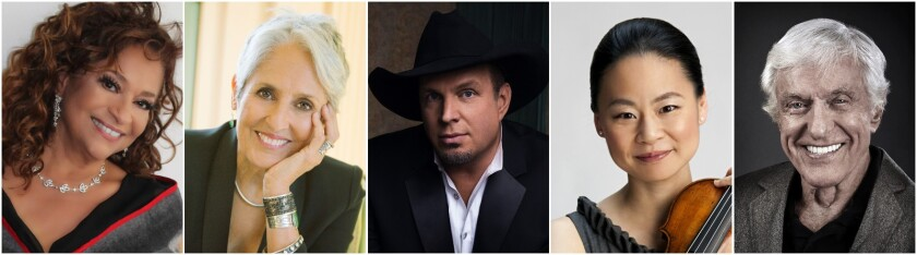 Debbie Allen, from left, Joan Baez, Garth Brooks, Midori and Dick Van Dyke are the 43rd Kennedy Center honorees.