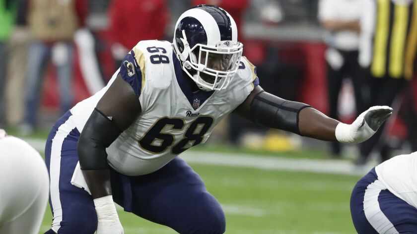 Los Angeles Rams offensive guard Jamon Brown (68) during the first half of an NFL football game agai