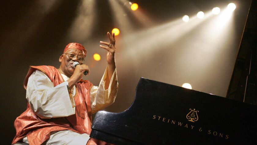 US Pianist Randy Weston performs during