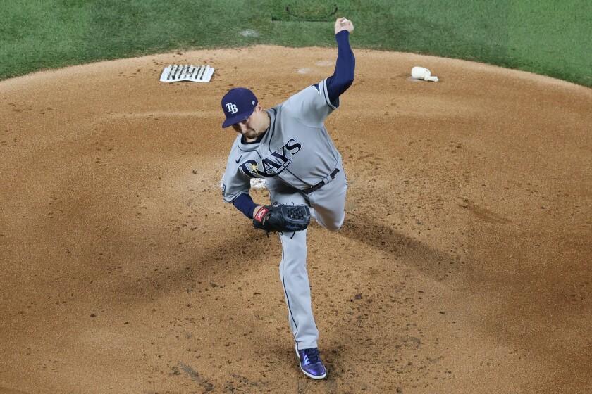 Blake Snell pitches for the Rays against the Dodgers in the World Series.