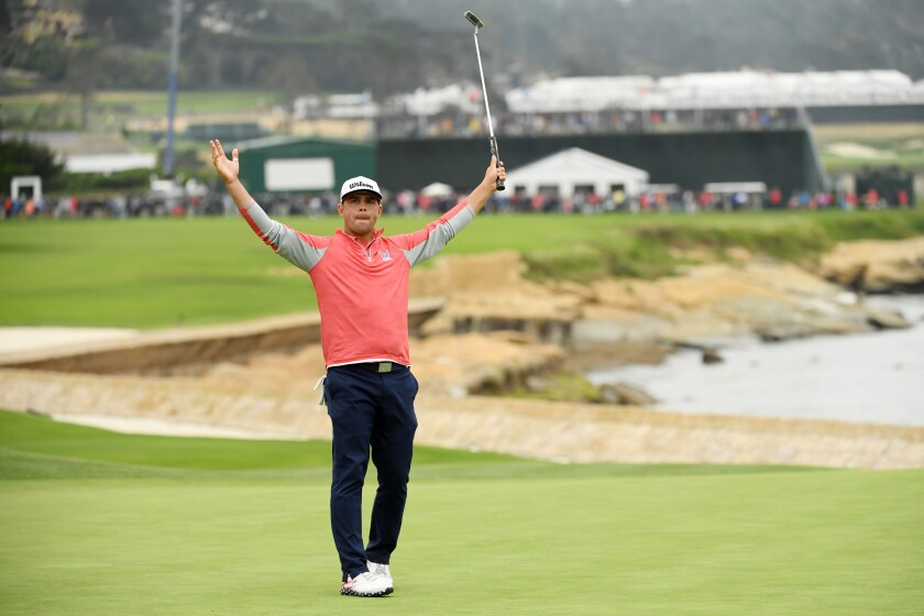 Gary Woodland of the United States celebrates on the 18th green after winning the 2019 U.S. Open at Pebble Beach Golf Links on June 16, 2019 in Pebble Beach, California.