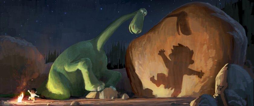 "A scene from the Pixar movie ""The Good Dinosaur"""