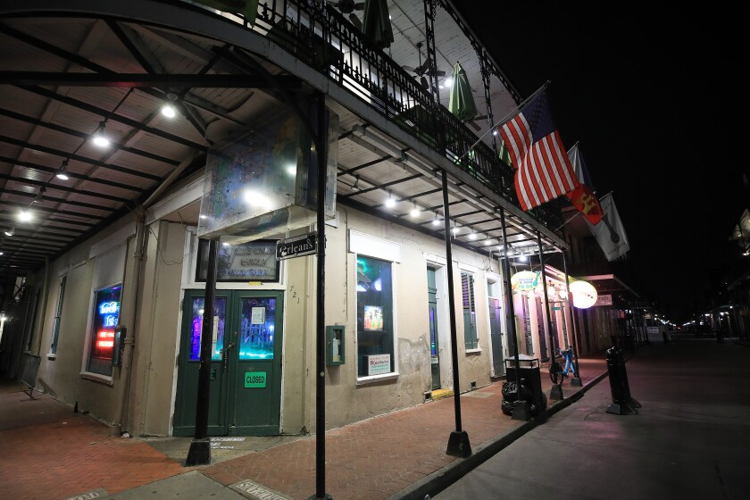 New Orleans' Bourbon Street is empty amid the virus outbreak.