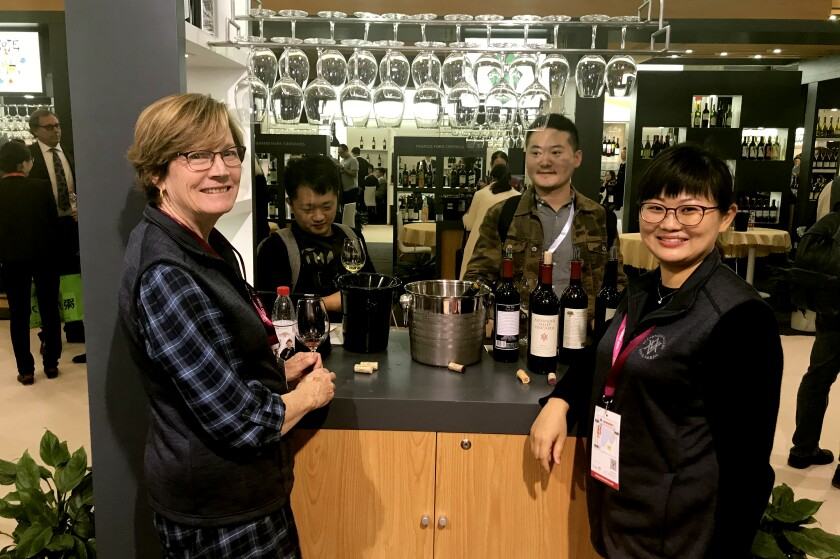 Linda Wetzel and Rose Sun, right, at the 2018 ProWine trade show in Shanghai.