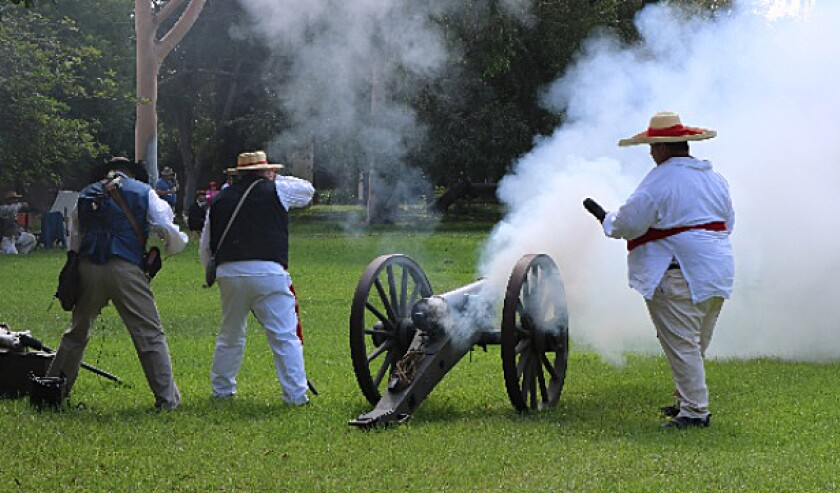 About 50 volunteers from Dominguez Rancho Adobe Museum re-enacted the 1846 Battle of Dominguez Hills last year, and they'll do it again Oct. 5-6 on the museum grounds in Rancho Dominguez.
