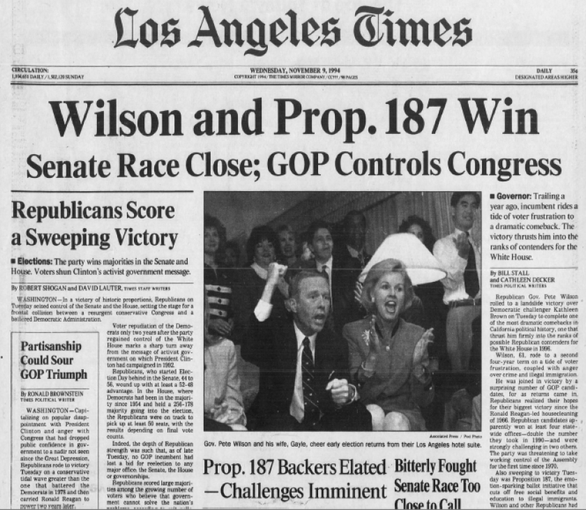 Front page of Los Angeles Times with story about Prop. 187's passage