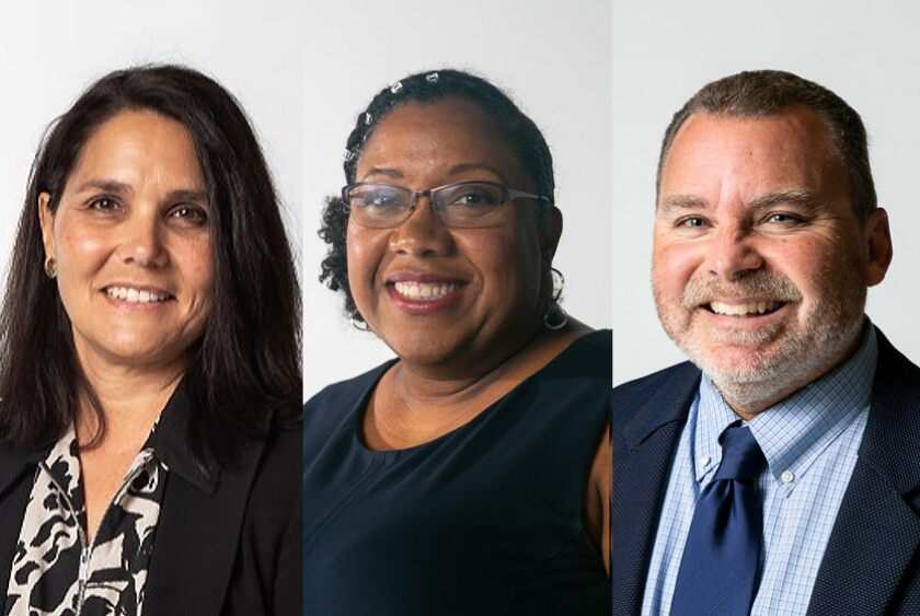 San Diego school board candidates, from left, Crystal Trull, LaWana Richmond and Richard Barrera