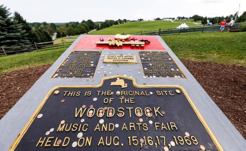The plaque marking the Woodstock Festival Monument, located at the site of the original Woodstock festival, in Bethel, New York, USA. EFE/EPA/Justin Lane