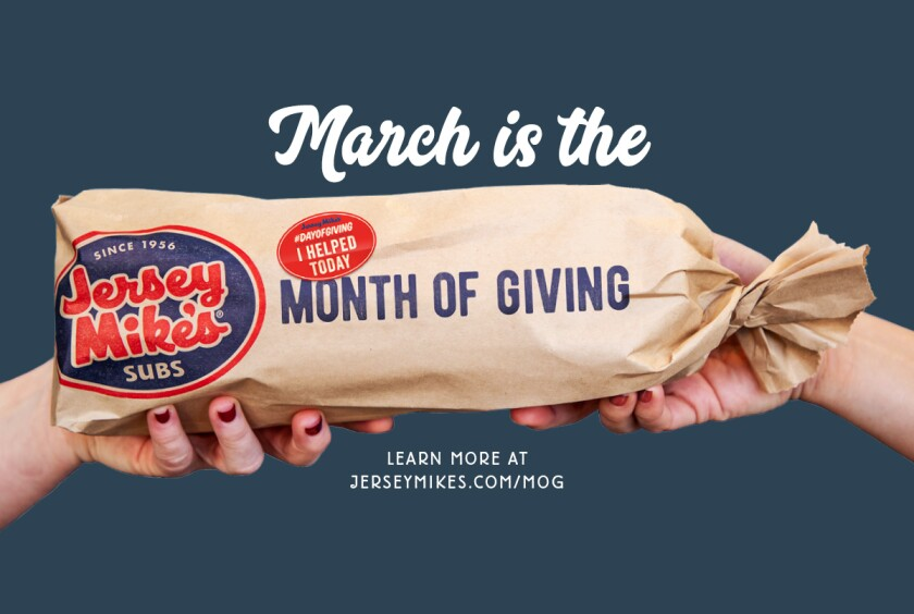 The Ramona Jersey Mike's Subs shop is participating in the company's annual March Month of Giving fundraising campaign.
