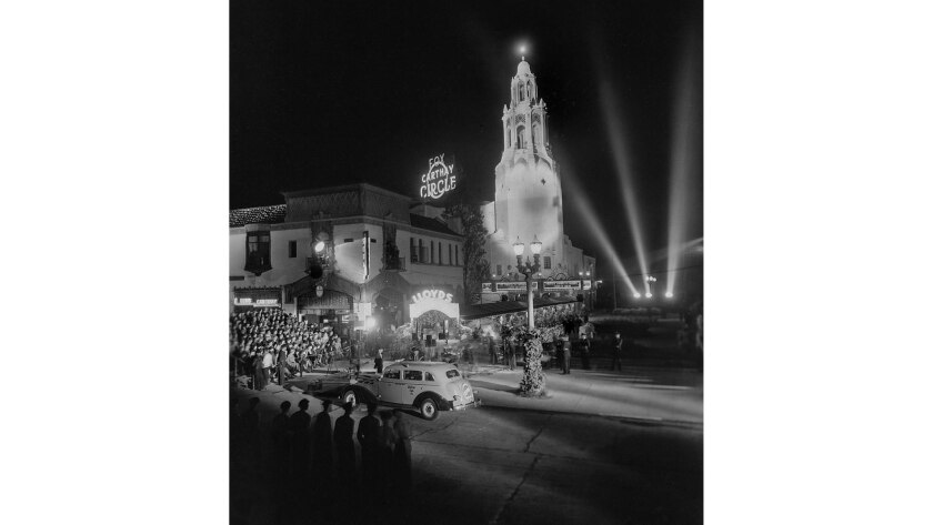 "Nov. 25, 1936: Premiere of ""Lloyds of London"" at the Carthay Circle Theater, formerly located near"