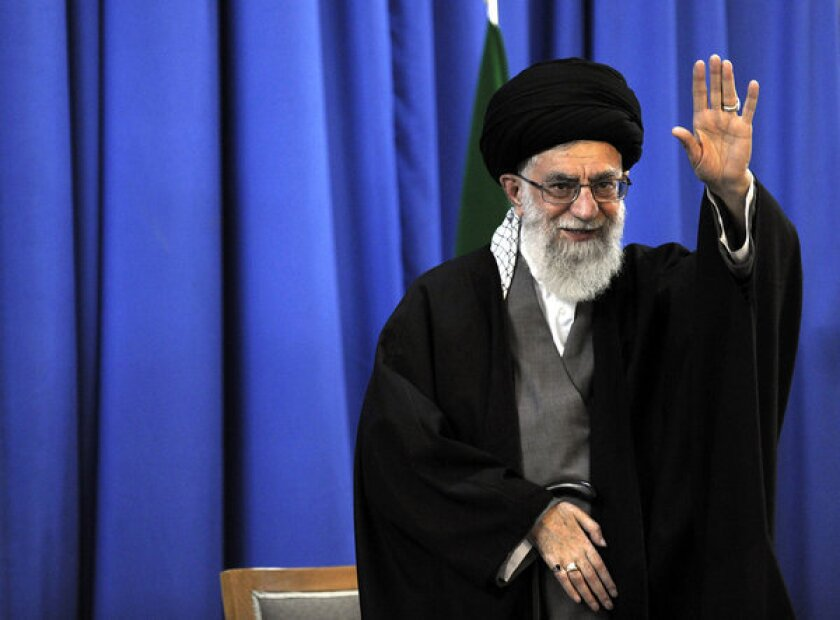 Even though he has expressed doubts about any positive result, Iran's supreme leader, Ayatollah Ali Khamenei, seen in a file photo, has said he is not opposed to U.S. and Iranian diplomats meeting on Tehran's nuclear program.