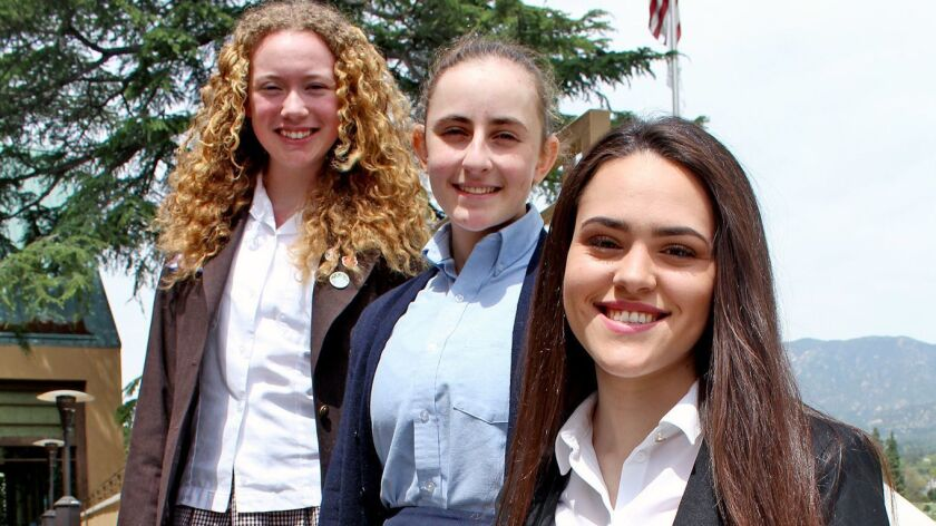 Cabrini Literary Guild Writing Award winners are, from top, Grace Fontes,16; Kira Toal,17; and Abiga