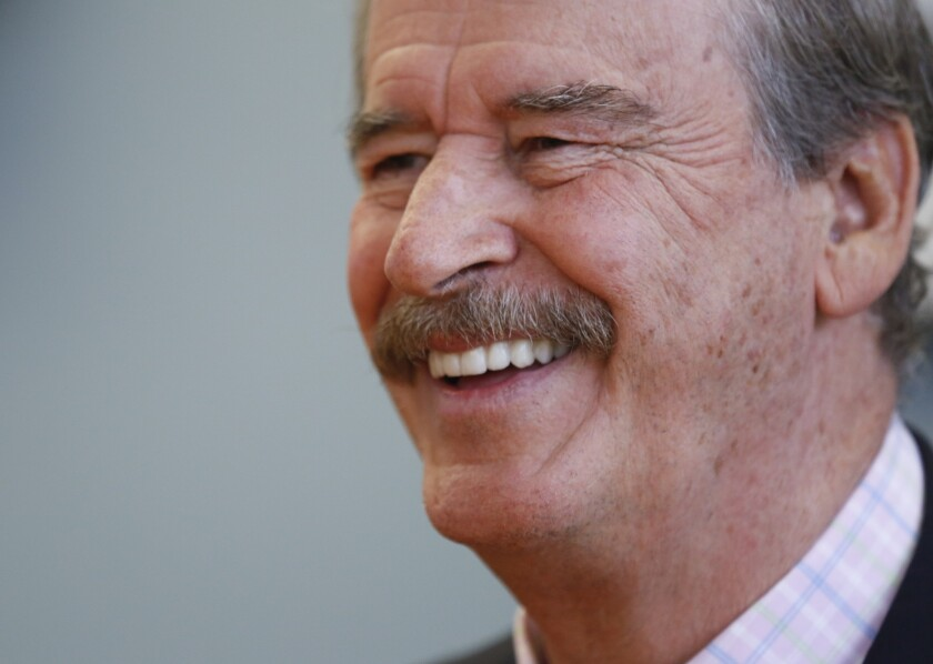 Former Mexican president Vicente Fox during an interview with the Los Angeles Times